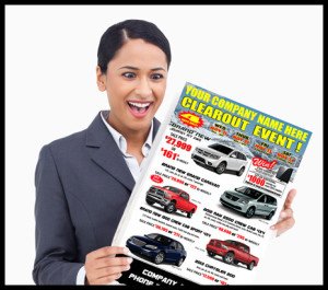 Woman Looking at a Flyer Design
